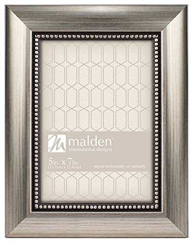 Silver Brushed Baby Frame (Malden International Designs Classic Mouldings Champagne Beaded Picture Frame, 5x7, Silver)