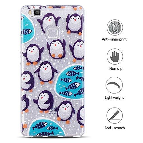 Funda para Huawei P9 Lite , E-Lush Suave Silicona TPU Carcasa Ultra Delgado Cáscara Clear Flexible Gel Parachoques Goma Transparente Case Cover impresión Patrón Bumper Elegante Carcasa Trasera Amortig Pingüino