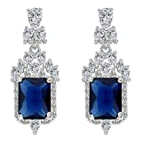 EleQueen 925 Sterling Silver Full Prong Cubic Zirconia Art Deco Victorian Style Bridal Dangle Earrings Sapphire Color