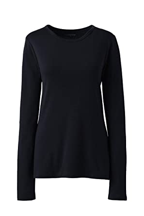 0e3417eb Lands' End Women's All Cotton Long Sleeve T-Shirt - Rib Knit Crewneck at  Amazon Women's Clothing store: