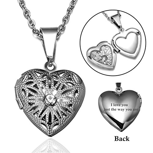 Sunling Personalized Silver Stainless Steel Open Heart Crystal Photo Locket Necklace Charm Engraved Aromatherapy Pendant Birthday for Her,Mom,Wife,Daughter,Girlfriend,Free (Locket Free Engraving)