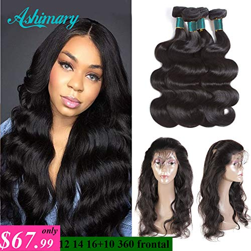 360 Lace Frontal with Bundles Pre Plucked 8A Brazilian Body Wave Virgin Hair Bunldes with 360 Lace Frontal Closure Baby Hair (12 14 16+10 360Frontal, Natural Color) (Pre Plucked 360 Lace Frontal With Bundles)