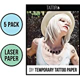 Tattify DIY Temporary Tattoo Paper 5 Pack For Laser Printers, Printable Long Lasting Custom Tattoos At Home, Sticker Transfer Sheets With Clear Instructions, Waterproof And Sweat Resistant