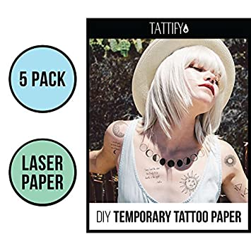 Amazon Tattify Diy Temporary Tattoo Paper 5 Sheet Pack For
