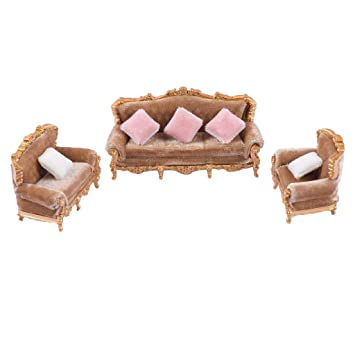 Miraculous Fityle 1 25 European Style Sofa Cushions Model Set Dollhouse Home Interior And Landscaping Oversignezvosmurscom