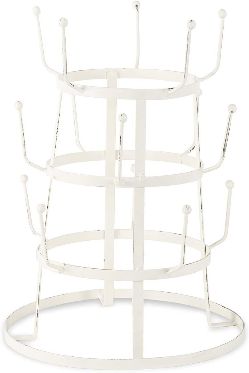 DII 5464 3 Tier Countertop or Pantry Vintage Metal Wire Tree Stand for Coffee, Glasses, and Cups, 15 Mug Capacity, Antique, 9.5x12.8, Distressed White