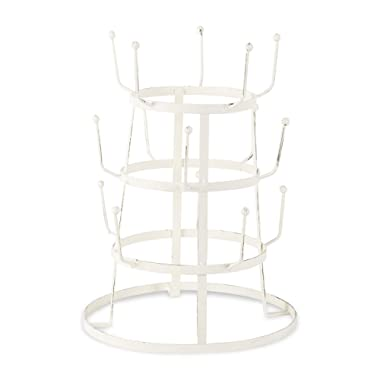 Home Traditions 3 Tier Countertop or Pantry Distressed Vintage Metal Wire Tree Stand for Coffee Mugs, Glasses, and Cups, 15 Mug Capacity, Antique White