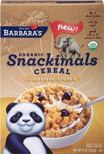 Barbara's Bakery Cereal, Organic, Snackimals, Cinnamon 9 OZ (Pack of 12)