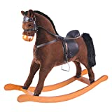 Labebe Child Rocking Horse Toy, Stuffed Animal Rocker Toy, Brown Rocking Horse with Bridle for Kid 3-8 Years, Wooden Rocking Horse with Saddle/Outdoor Rocking Horse/Rocker/Animal Ride on/Rocking Toy