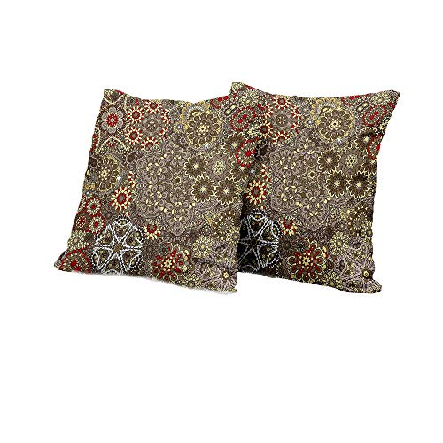 All of better Square Cushion Cover Batik,Vintage Paisley Forms with Batik Style Flowers and Circles Moroccan Persian Patterns,Multicolor Cushion Cover 14x14 INCH 2pcs