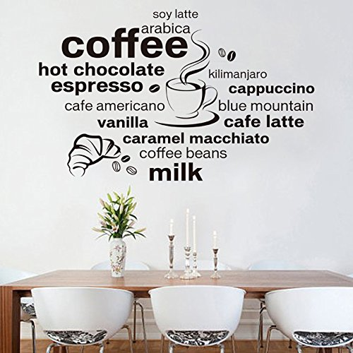Ayutthaya Shop 2017 New Design Simple and Stylish English Coffee Decoration Wall Decals Living Room Cafe Wall D Ecals - Hours Outlet Monroe