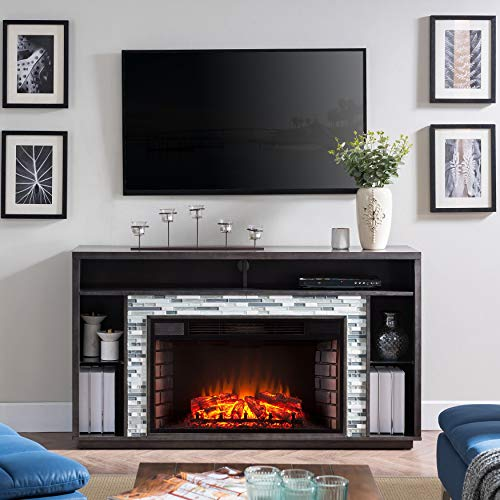 Brick Fireplace Stand (Harper Blvd Niamh Glass Tiled TV Stand Electric Fireplace, Whiskey Maple with Multicolored Tile Smoked ash, Multicolored Gray)