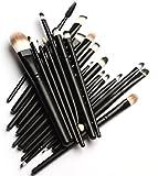 MELADY20pcs Multi-function Pro Cosmetic Powder Foundation Eyeshadow Eyeliner Lip Makeup Brushes Sets (Black)