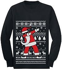 Dabbing Santa Funny Ugly Christmas Party Youth Kids Long Sleeve T-Shirt Large Black