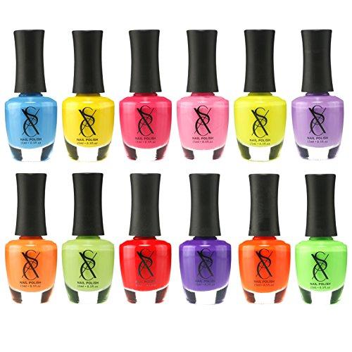 SXC Cosmetics Nail Polish Set, 12 Neon Nail Lacquer 15ml/0.5oz Full Size Nail Lacquer Gift lot (Gel Nail Polish Vs Regular Nail Polish)