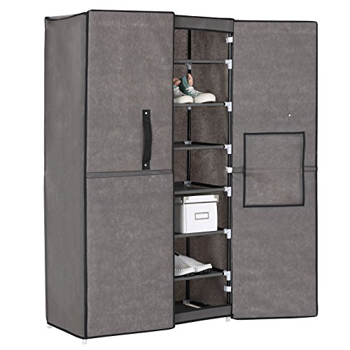 WOLTU 8 Tiers Shoe Rack Tower 2 Magnets Closed Doors Cover Storage Closet With Non-woven Fabric Grey - 2 Door Closed Storage