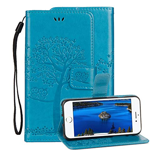Embossed Leather Case for iPhone 6/iPhone 6S,Aearl Apple iPhone 6 6S Embossed Owl Tree Flower Premium PU Leather Wallet Soft TPU Flip Cover Magnetic Card Slot Holder with Detachable Hand Strap-Blue
