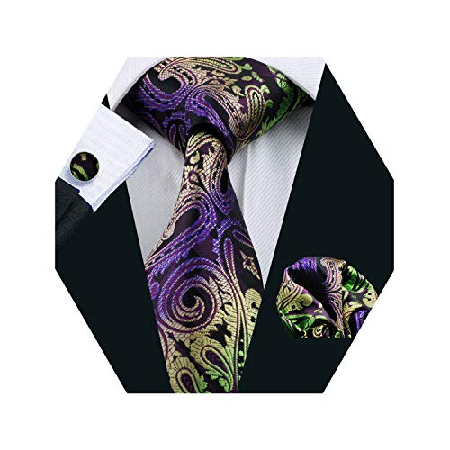 YOHOWA Purple Green Paisley Tie Set Mens Silk Tie Pocket Square Cufflinks