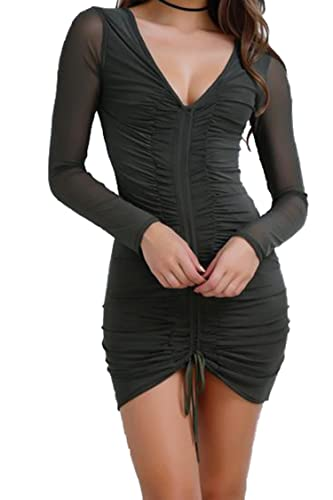 PinkWind Women Sexy Slim Sheer Mesh Stitching Ruched Long Sleeve Mini Club Dress