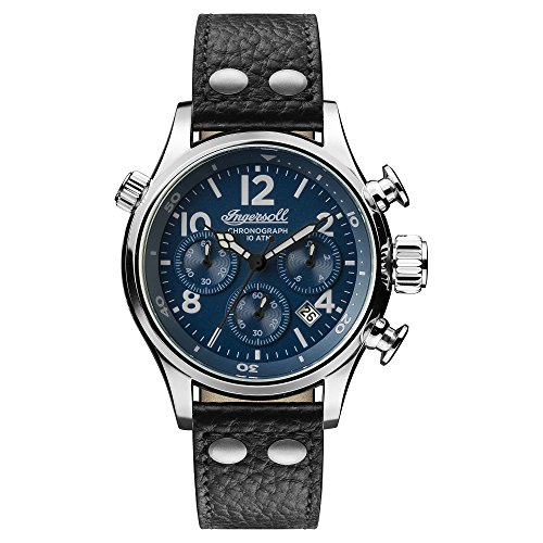 Ingersoll Men's Quartz Stainless Steel and Leather Casual Watch, Color:Black (Model: I02001)