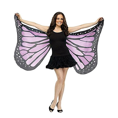 - Livoty fashion Soft Fabric Butterfly Wings Fairy Ladies Nymph Pixie Costume Accessory (Purple)