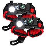 Nexfinity One Survival Paracord Bracelet - Tactical Emergency Gear Kit with SOS LED Light, Knife, 550 Grade, Adjustable, Multitools, Firestarter, Compass, and Whistle - Set of 2 RED