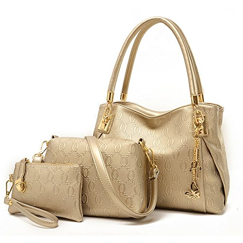 - Montmo 3 Pcs Purses and Handbags Set Top-Handle Shoulder Bag Purse for Women (Gold)