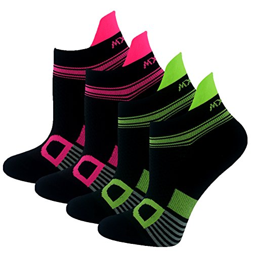 omens Athletic No Show Tab Running Socks 4 Pairs Green Rose A ()