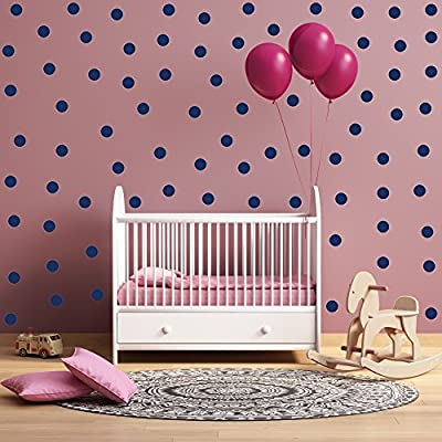 """(80) 3"""" Dark Blue Polka Dot Decals - Removable Peel and Stick Circle Wall Decals for Nursery, Kids Room, Mirrors, and Doors"""