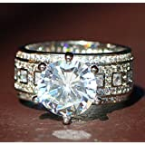 Sumanee New 925 Silver Filled White Sapphire Birthstone Engagement Wedding Ring 6-10 (6)