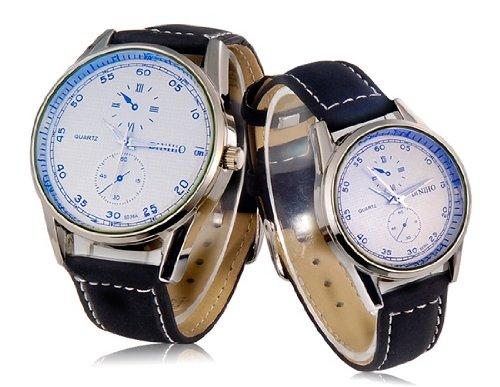 DINIHO 5036A movimiento de cuarzo Pareja Relojes analógicos con imitación de cuero Correa M.