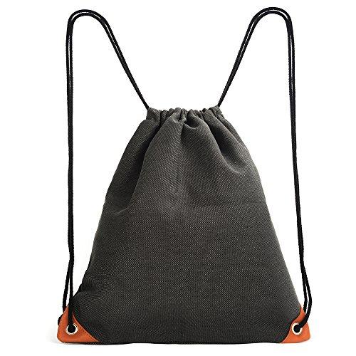 Canvas Drawstring Back Sack (Neutral Sport Gym Sack Drawstring Bag, Lightweight Canvas String Backpack With Inside Pocket, Leather Reinforced Corners)