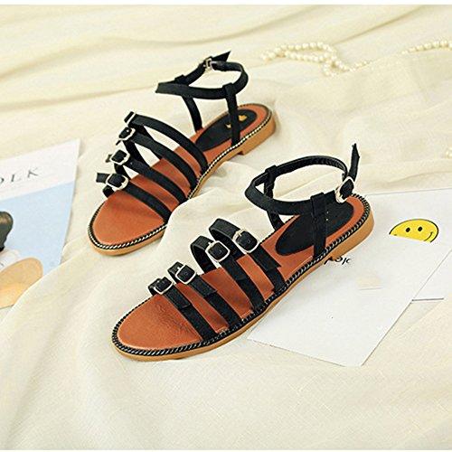 Scothen Sandalias de tacón Casual tarde Peep Toe mujeres de las sandalias planas de la hebilla de las sandalias romanas sandalias planas del Rhinestone correa del clip zapatos deslizadores de Bohemia Black