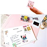 ALIMITOPIA Adhesive Sticker,12 Sheets(240pcs) Stamp Shape DIY Decorative Paper Paster Ornament Mark