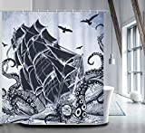 Nautical Shower Curtain Set with 12 Hooks Kraken Bathroom Curtains Fabric Decorative Bath Curtain Waterproof Anti-Bacterial Shower Curtain Liner72 x72