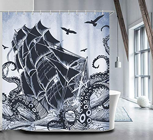 Nautical Shower Curtain Set with 12 Hooks Kraken Bathroom Curtains Fabric Decorative Bath Curtain Waterproof Anti-Bacterial Shower Curtain Liner72 x72 by Livilan
