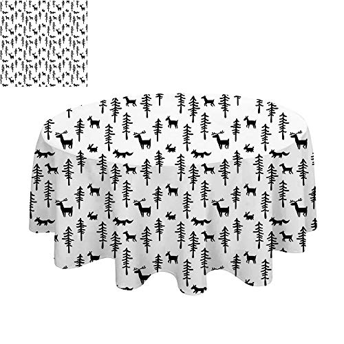 SATVSHOP Premium tablecloth-45Inch-Daily use.for t Christmas Spirit Inspired Sketchy eindeer Pine TRE abbits Animal Dign Black White. -