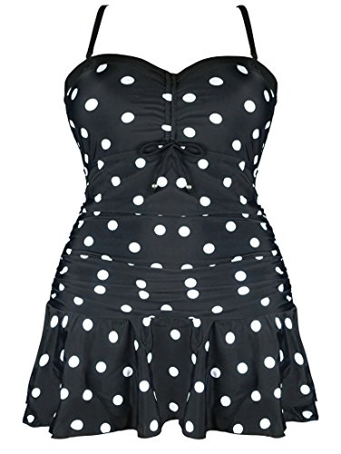 Cocoship Black & White Plus Size Polka Dot Skirted Cover Up Swimsuit One Piece Retro Ruched Swimdress 26(FBA)