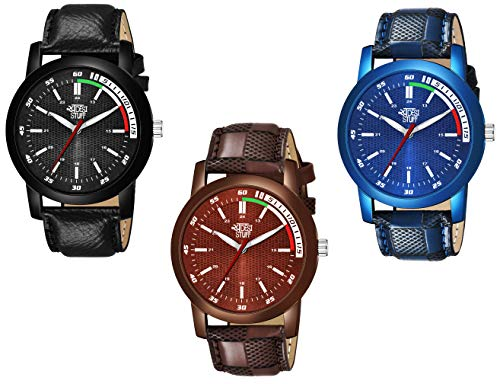 Swadesi Stuff Leather Strap Pack of 3 Multi Color Dial Analogue Watch for Men and Boys