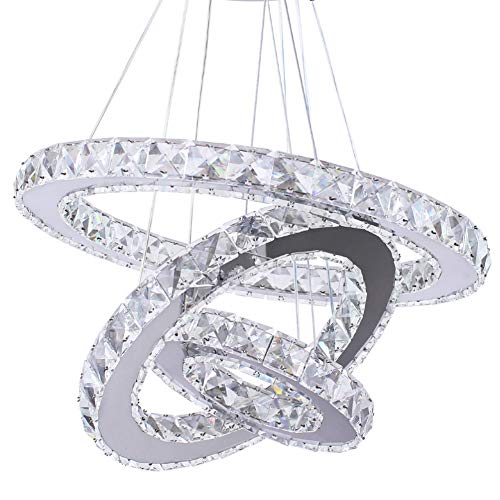 Dixun LED Chandeliers Modern Crystal 3 Rings Ceiling Lighting Fixture Adjustable Stainless Steel Pendant Light for Bedroom Living Room Dining Room Warm White