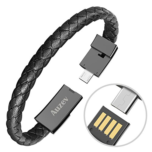 (Micro USB Cable Durable Leather Bracelet Charging Data Cable Braided Wristband Wrist Cuff USB Data Charger Cord for Android (Black, M(7.2