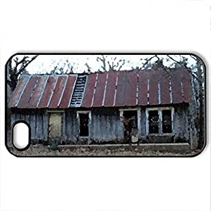 Nobody's home - Case Cover for iPhone 4 and 4s (Houses Series, Watercolor style, Black)