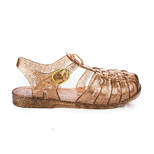 Bamboo Suzy-02k Girls Patent Round Toe Studded Ballet Flats Pyramid Studs Mary Jane Strap Bronze GltPvc 3