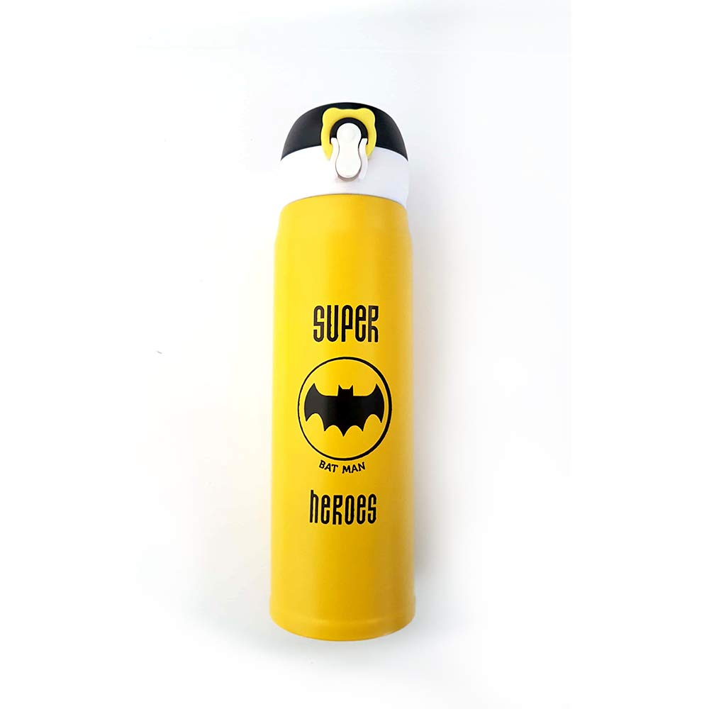 RGFK Superhero Batman Stainless Steel Thermos Water Bottle with Matte Finish and Innovative Leak Lock Design (Yellow, 500 ml)