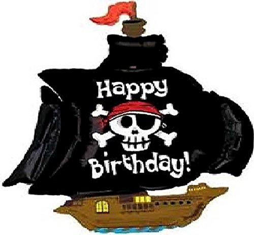 "(Custom, Fun & Cool {XXL Massive Huge Size 46"" Inches - 3.4 Feet} 1 Unit of Helium & Air Inflatable Mylar Aluminum Foil Balloon w/ Happy Birthday Pirate Ship Design [in Pastel Brown, Black, White&Blue])"