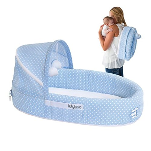 LulyBoo Baby Lounger To Go - Foldable Travel Bassinet - With Canopy, Toy-Bar And Plush Toys (Blue) BLF BD 001