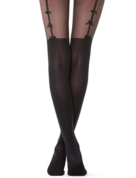 a7c14ec85 Calzedonia Womens Over-knee tights with bow-suspender belt  Amazon.co.uk   Clothing