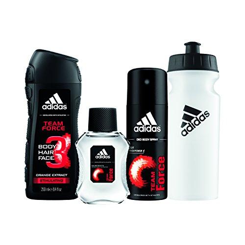 adidas Team Force 4pc Set - 8.4 oz Body Wash, 1.7 oz Eau De Toillette, 4.0 Body Spray, Water (Adidas Set Edt Spray)