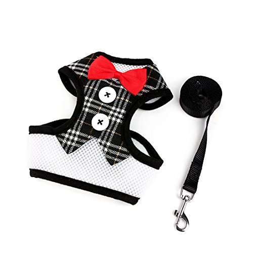uxcell Soft Mesh Small Dog Harness Pet Cat Puppy Harness Vest Padded Bowtie Gentleman Suit Dog Tuxedo+Leash, Black Grid, M