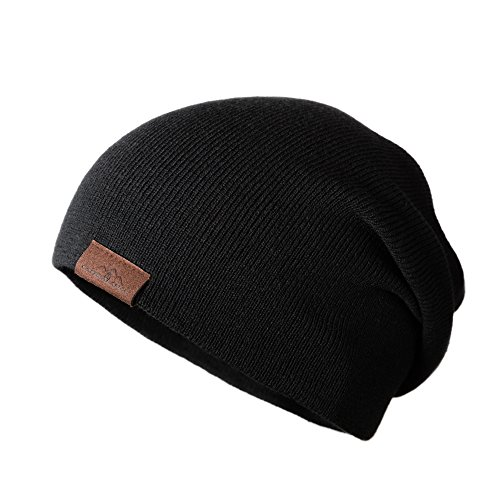 CacheAlaska Beanie Slouchy Cuffed Skull Cap for Men and Women - Black